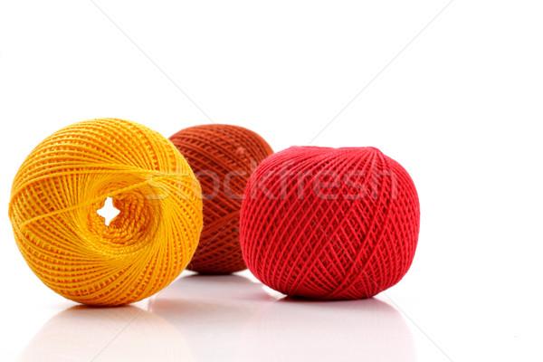пряжи вязанье белый студию изолированный мяча Сток-фото © Tatik22