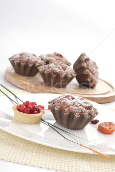 Kicsi mazsola étel piros tányér desszert Stock fotó © Tatik22