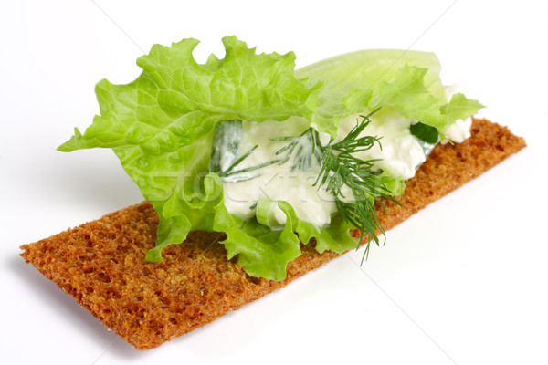Lezzetli süzme peynir rezene salata levha yalıtılmış Stok fotoğraf © Tatik22