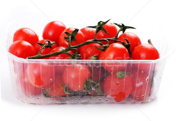 Kiraz domates plastik sepet beyaz gıda arka plan Stok fotoğraf © Tatik22