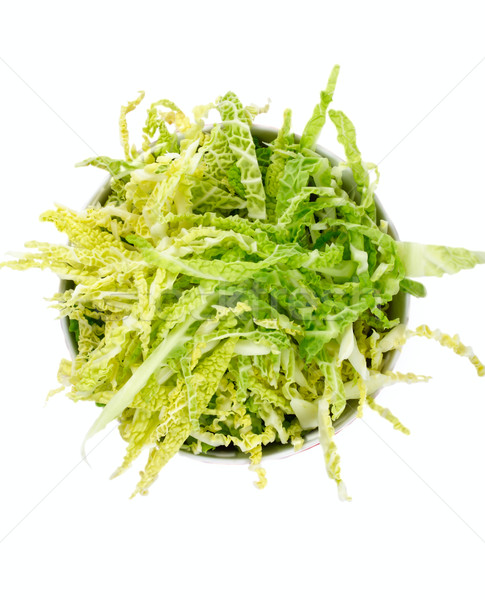 salad with fresh savoy cabbage on a white background, top view Stock photo © Tatik22
