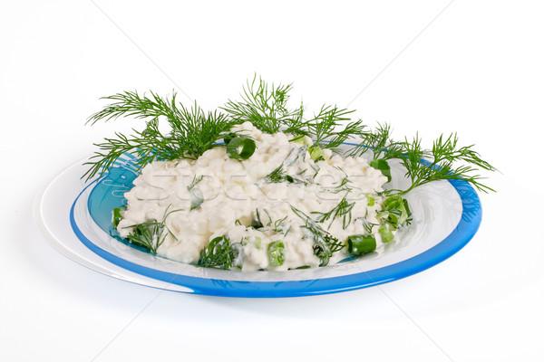 Taze süzme peynir rezene plaka yalıtılmış beyaz Stok fotoğraf © Tatik22