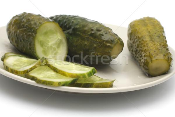Augurken plaat komkommer zout Stockfoto © Tatik22