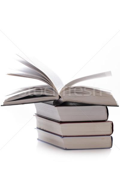 Birkaç kitaplar beyaz kitap arka plan yeşil Stok fotoğraf © Tatik22