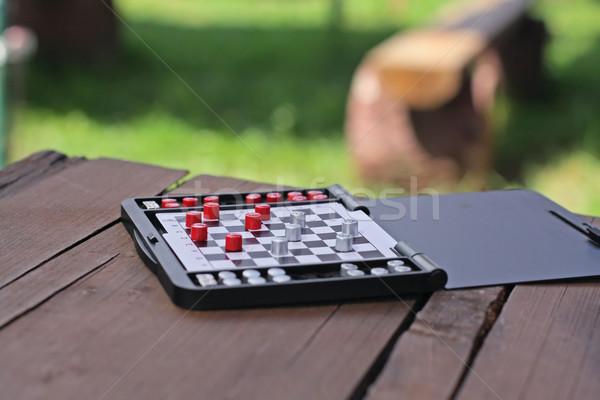 Satranç piknik ahşap masa doğa el tahta Stok fotoğraf © Tatik22