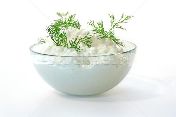 Taze süzme peynir rezene yalıtılmış beyaz cam Stok fotoğraf © Tatik22