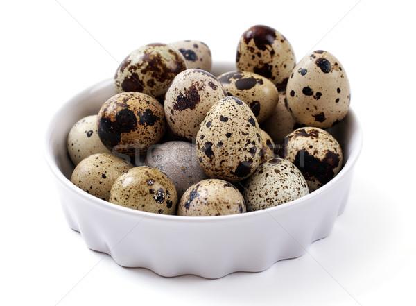 Yumurta beyaz plaka grup sepet yemek Stok fotoğraf © Tatik22