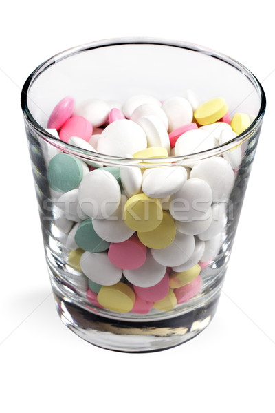 Foto stock: Pílulas · transparente · vidro · branco · estúdio