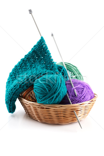Knitting wool and a few balls in the basket for needlework on a  Stock photo © Tatik22