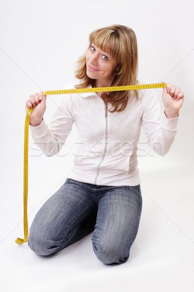 Menina centímetro smiles sorrir mulheres fitness Foto stock © Tatik22