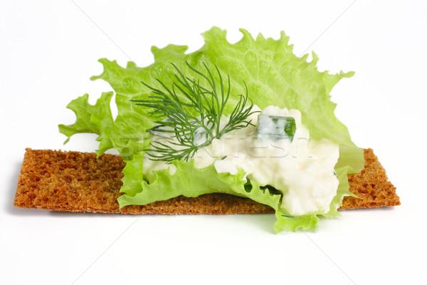 Delicioso requeijão funcho salada folha isolado Foto stock © Tatik22