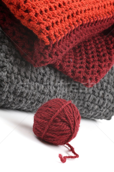 Knits and a ball of wool on a white background Stock photo © Tatik22