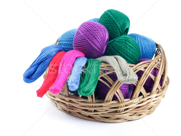 ns of different colors for embroidery in the basket.  Stock photo © Tatik22