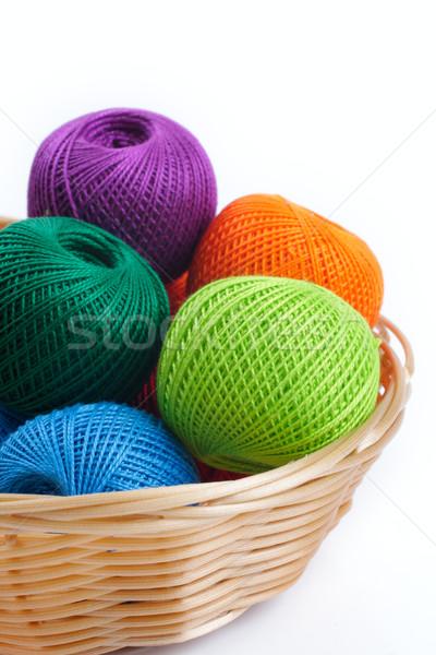 Сток-фото: корзины · оранжевый · зеленый · ткань · красный