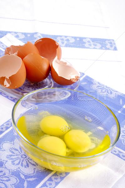 Kırık yumurta cam fincan mavi Stok fotoğraf © Tatik22