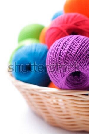 мяча пряжи вязанье оранжевый зеленый ткань Сток-фото © Tatik22