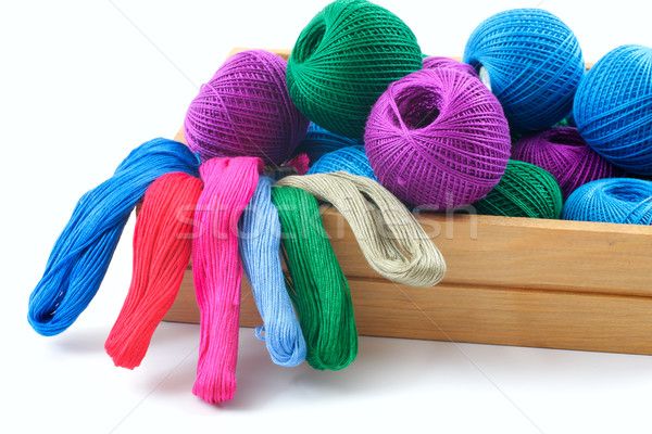threads for needlework in a wooden box.  Stock photo © Tatik22