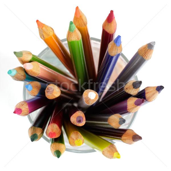 Renk kalemler cam beyaz stüdyo yalıtılmış Stok fotoğraf © Tatik22