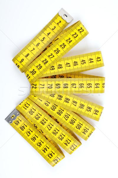 şerit metre beyaz sarı cetvel yalıtılmış Stok fotoğraf © Tatik22