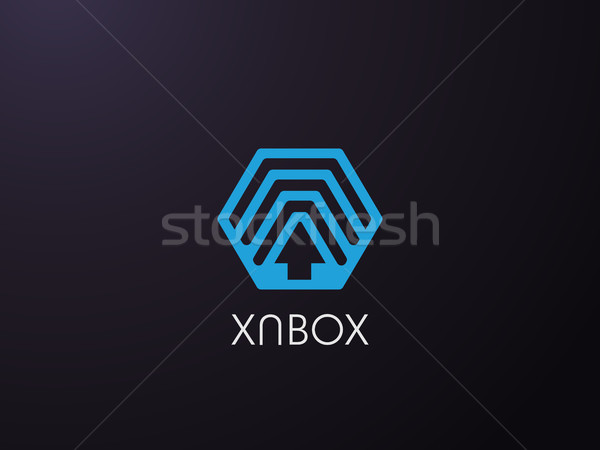 hexagon forward box arrow, abstract polygon logo template. logistic delivery courier transport servi Stock photo © taufik_al_amin