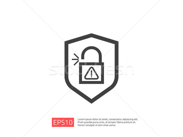 shield open padlock attention icon with exclamation mark symbol warning alert sign. account access s Stock photo © taufik_al_amin