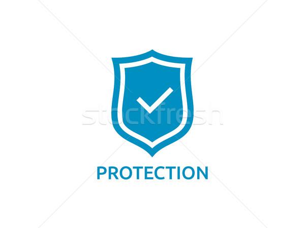 Csekk pajzs ikon szimbólum biztonságos védelem Stock fotó © taufik_al_amin