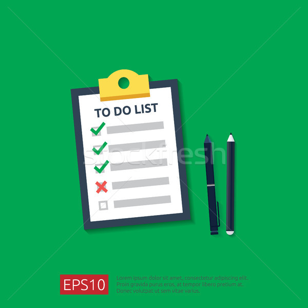 Stock photo: Clipboard with To do list or planning, pencil, and pen in flat style. vector illustration concept of