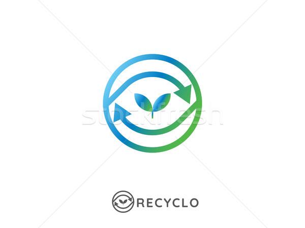Abstract riciclare logo ciclo arrow simbolo Foto d'archivio © taufik_al_amin