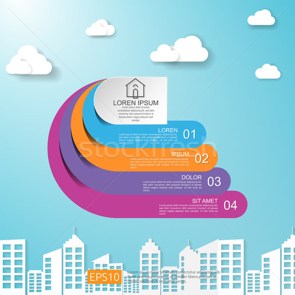 abstract half circle for business concept infographic with cloud and building background. Template f Stock photo © taufik_al_amin