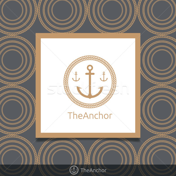 Three anchor emblem with circular rope in frame. Simple gold col Stock photo © taufik_al_amin