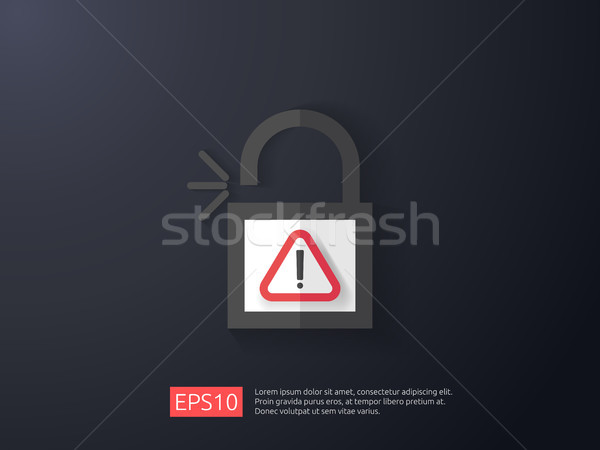 open padlock attention icon with exclamation mark symbol