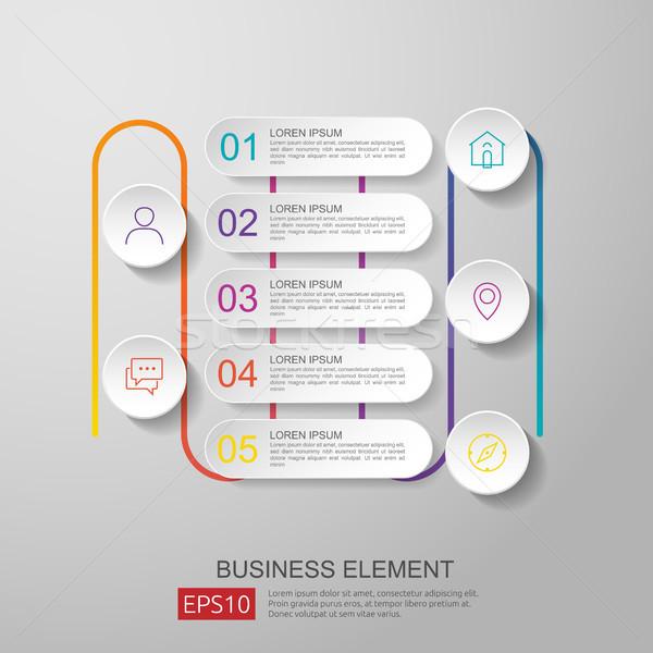 Infografika idővonal alkotóelem 3D papír címke Stock fotó © taufik_al_amin