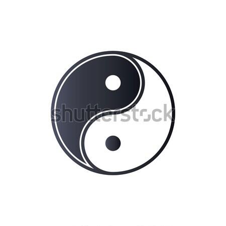Yin yang logo szimbólum ikon fekete sziluett Stock fotó © taufik_al_amin