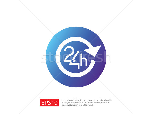 open 24 hours a day icon sign. isolated around circle symbol log Stock photo © taufik_al_amin