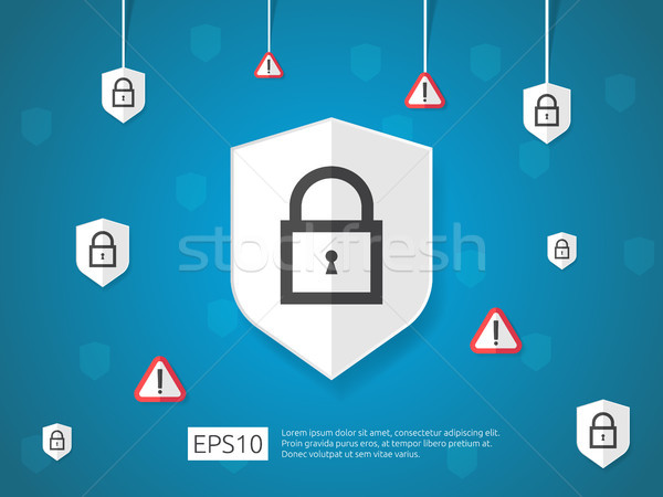 Stock photo: shield and alert line icon, Internet VPN Security banner Concept