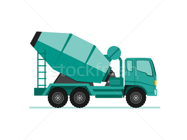 concrete cement mixer truck icon in flat design style vector ill Stock photo © taufik_al_amin