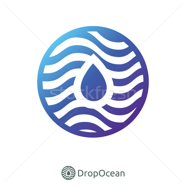 water droplet and circle wave ocean logo Stock photo © taufik_al_amin