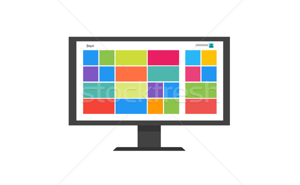 Flat Tile user interface computer icon. Monitor Screen flat vector illustration. Stock photo © taufik_al_amin