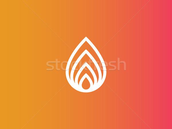 Abstrato fogo logotipo natureza folha ícone Foto stock © taufik_al_amin