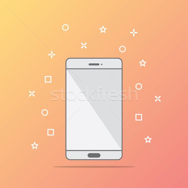 Stijl icon telefoon abstract ontwerp technologie Stockfoto © taufik_al_amin