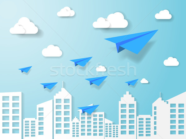 plane flying on blue sky with cloud and building. illustration of business and leadership concept. n Stock photo © taufik_al_amin