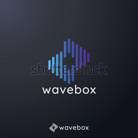Absztrakt audio jel hullám pulzus logo Stock fotó © taufik_al_amin