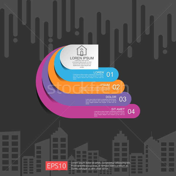 half circle for business concept infographic with abstract cloud and building background. Template f Stock photo © taufik_al_amin