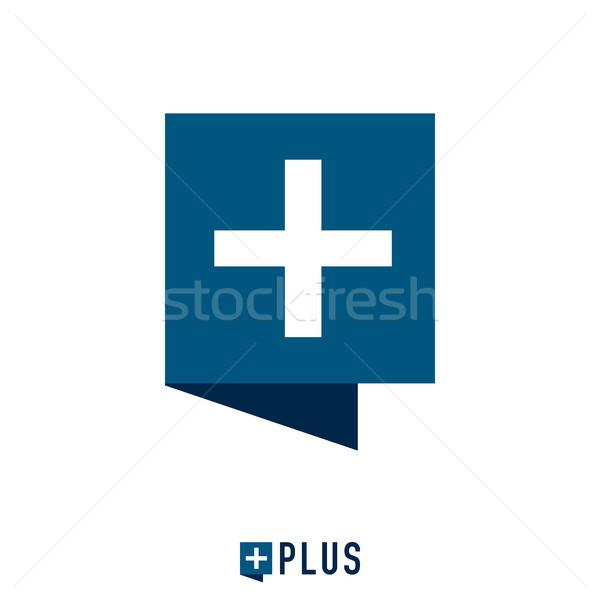 square chat bubble and plus mark logo concept. vector illustrati Stock photo © taufik_al_amin