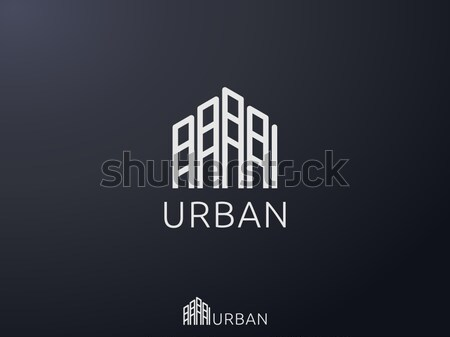 abstract hexagonal for corporate business or city skyline Real Estate logo icon. symbol template Vec Stock photo © taufik_al_amin