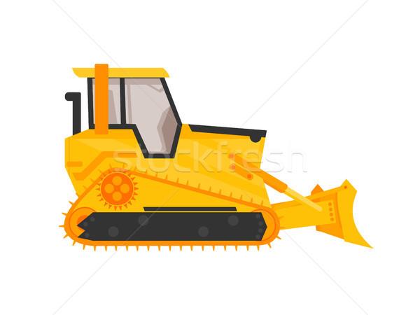Izolat buldozer icoană desen animat stil construcţie Imagine de stoc © taufik_al_amin