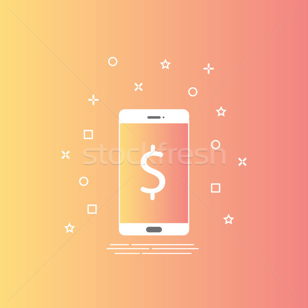 smartphone icon in line style with mobile payment concept on screen. Internet banking design concept Stock photo © taufik_al_amin