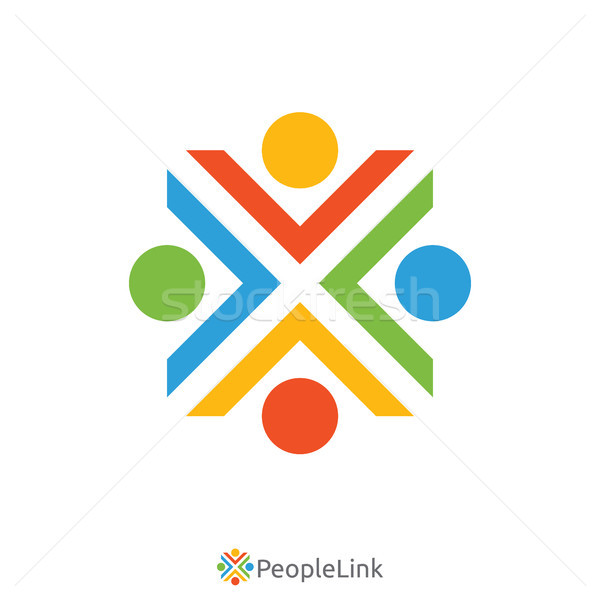 people unity logo with initial letter x sign. logo template. vec Stock photo © taufik_al_amin
