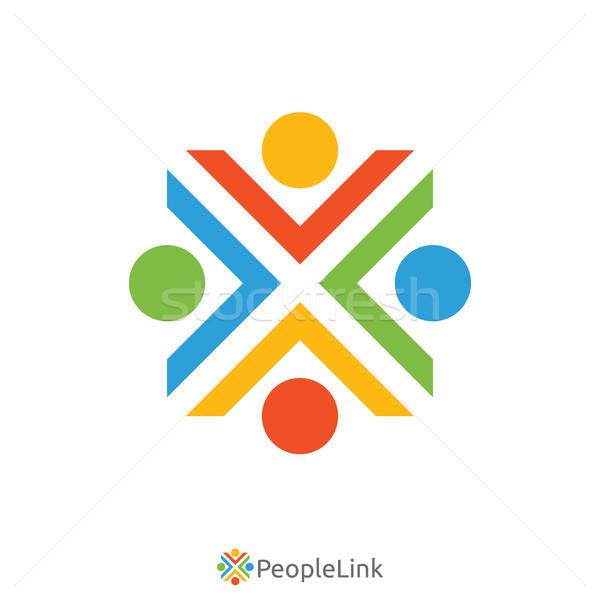 Insanlar birlik logo mektup imzalamak şablon Stok fotoğraf © taufik_al_amin