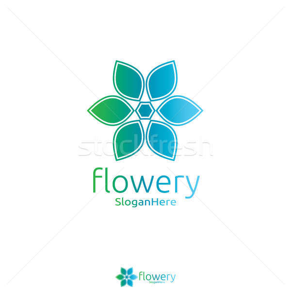 Stock photo: Elegant flower logo icon vector design with Green Blue Nature an